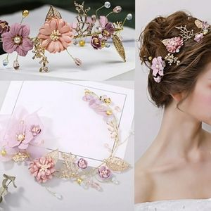 High end and handmade pink bride tiara